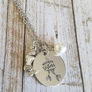 Mermaid Sisters stamped  necklace
